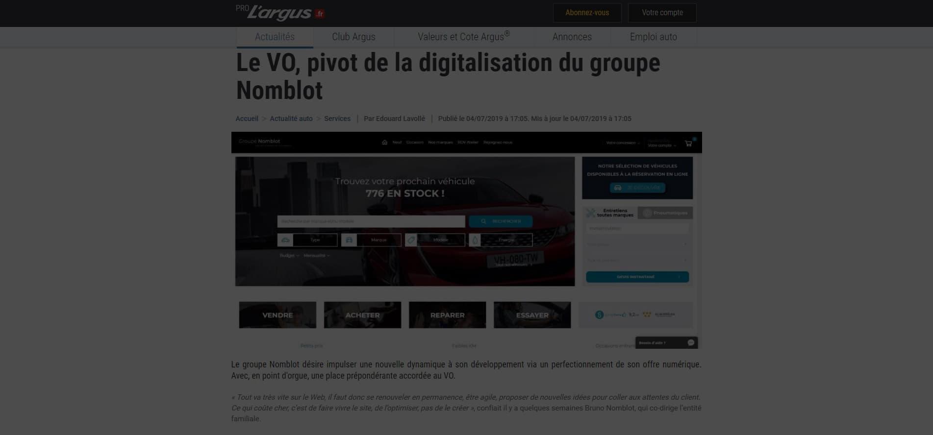 Le VO, pivot de la digitalisation du groupe Nomblot