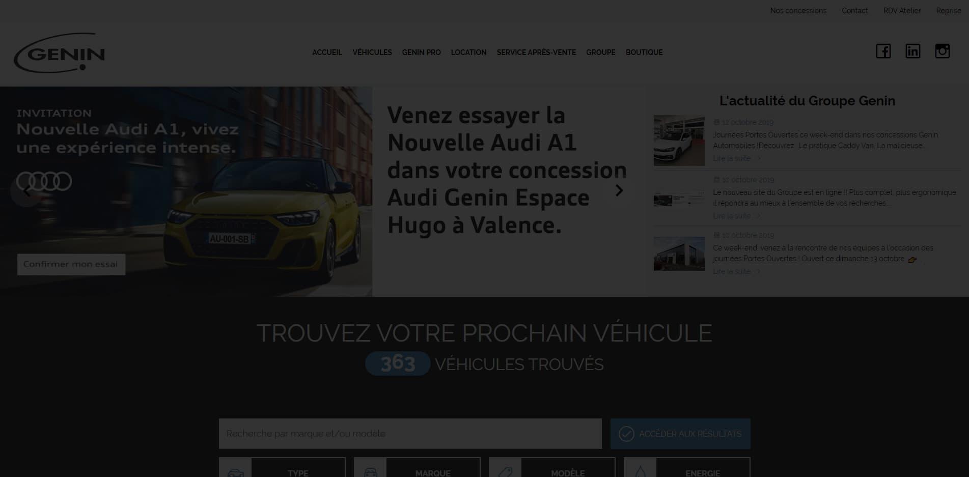 Nouveau site Groupe Genin Automobiles